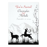 Silhouette Deer and Mountains Wedding Invitaiton Card