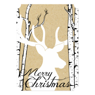 Silhouette Deer Birch Forest Holiday Card