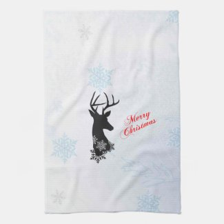 Silhouette Deer Christmas Kitchen Towel