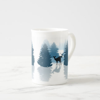 Silhouette Deer Forest Bone China Mug