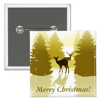 Silhouette Deer Forest Christmas Button
