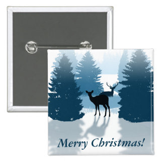 Silhouette Deer Forest Christmas Pinback Button