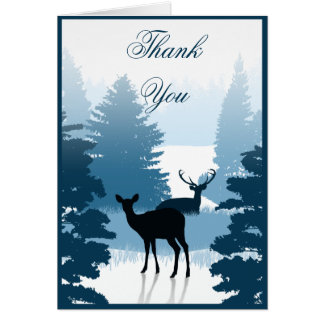 Silhouette Deer Forest Note Card