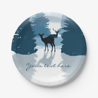 Silhouette Deer Forest Paper Plates
