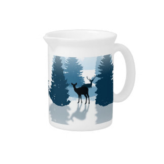 Silhouette Deer Forest Pitcher