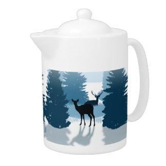 Silhouette Deer Forest Teapot