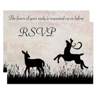 Silhouette Deer in Meadow Wedding RSVP Card