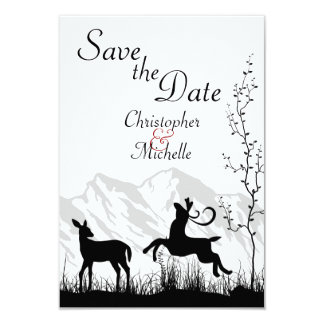 Silhouette Deer Mountain Wedding Save the Date Card