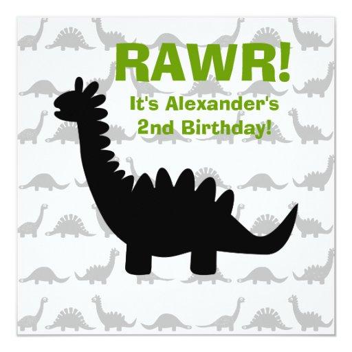 "Silhouette Dinosaur Birthday Invitation 5.25"" Square Invitation Card"