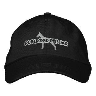 Silhouette Doberman Pinscher Embroidered Baseball Caps