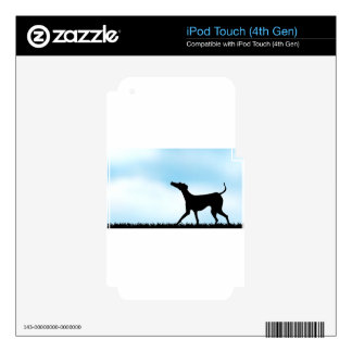 Silhouette dog in the field iPod touch 4G decals