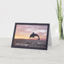 Silhouette Dolphin in the Ocean Birthday Card