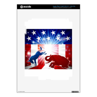 Silhouette Donkey Fighting Elephant Decal For iPad 3