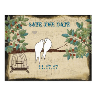Silhouette Doves Bird Cage Save the Date Postcard