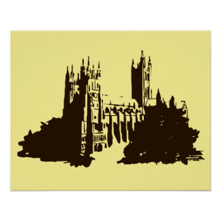 Silhouette drawing Canterbury Cathedral Poster