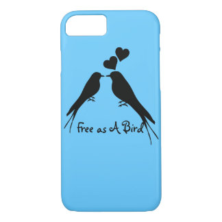Silhouette Drawing of Two Birds in Love iPhone 8/7 Case
