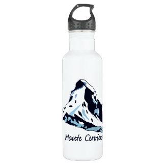 Silhouette drawing Swiss Italian Alps Matterhorn 24oz Water Bottle
