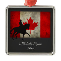 Silhouette Dressage Horse and Canadian Flag Canada Metal Ornament