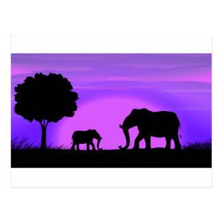 Silhouette Elephants Postcard