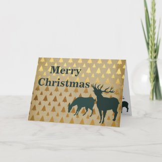 Silhouette Elk Golden Pine Trees Merry Christmas Holiday Card