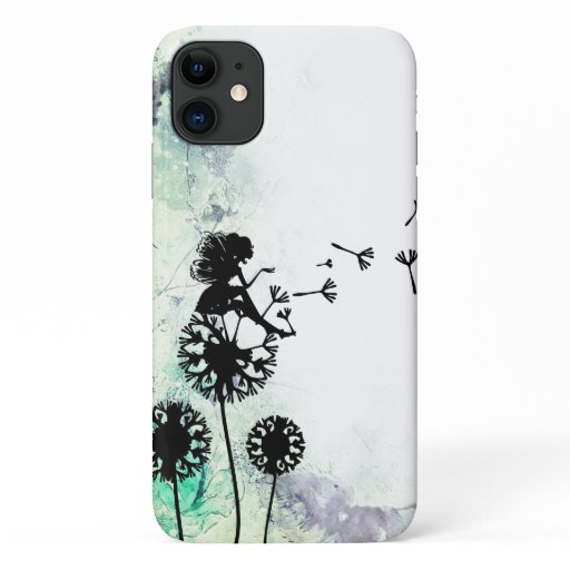 Silhouette Fairy and Dandelion Seeds Flower Garden iPhone 11 Case