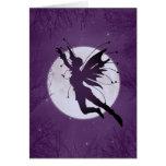 Silhouette Fairy Flying w/ Moon Birthday Card