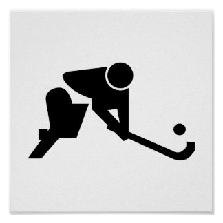 Silhouette Field Hockey Poster