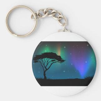Silhouette field with aurora sky at night basic round button keychain