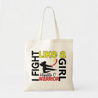 Silhouette Fight Like A Girl Hepatitis C 3.2 Budget Tote Bag