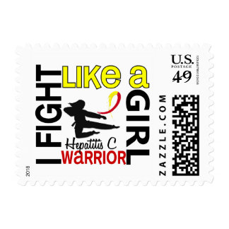 Silhouette Fight Like A Girl Hepatitis C 3.2 Postage Stamps