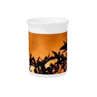 Silhouette Flower Bush Beverage Pitcher