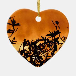 Silhouette Flower Bush Ceramic Ornament