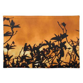 Silhouette Flower Bush Cloth Placemat