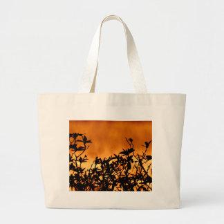 Silhouette Flower Bush Large Tote Bag