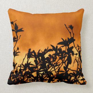 Silhouette Flower Bush Throw Pillow