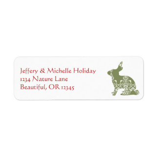 Silhouette Folk Art Bunny Rabbit Red and Green Label