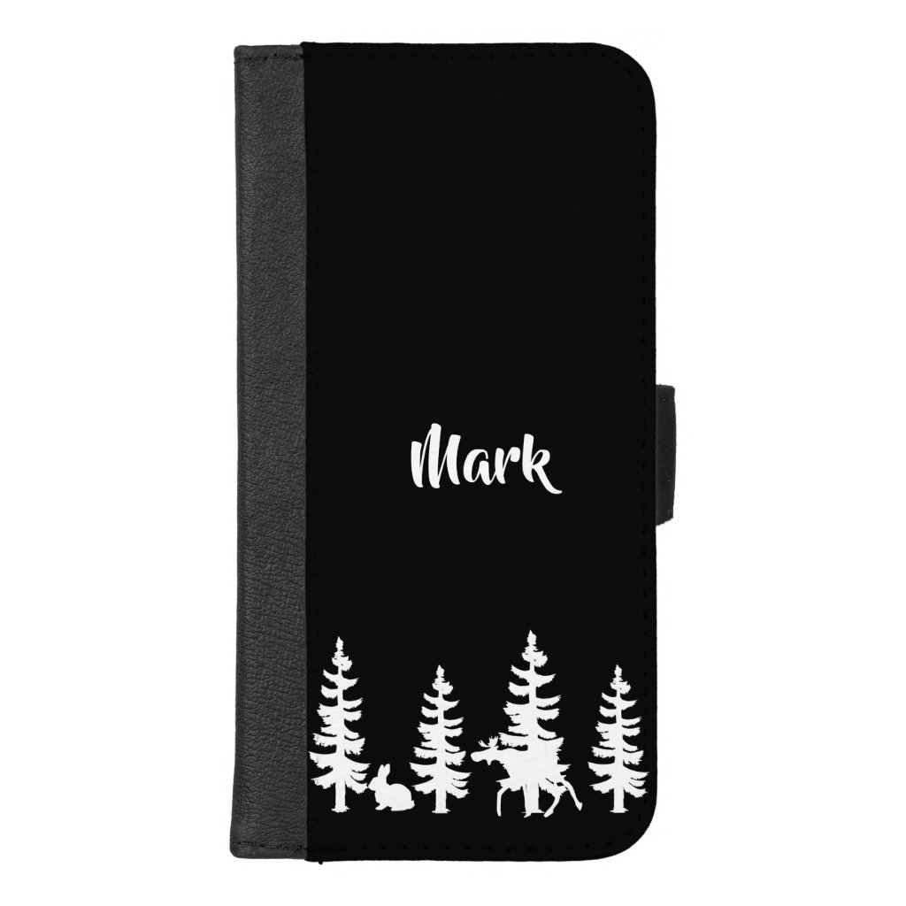 Silhouette forest and wildlife in black with name iPhone 8/7 plus wallet case