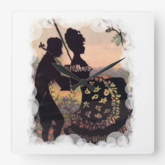 Silhouette Georgian Couple! Square Wall Clock