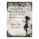 """Silhouette Girl and Hearts Graduation Invitation 5"""" X 7"""" Invitation Card"""