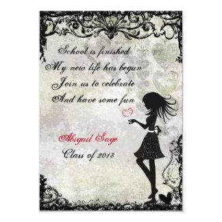 Silhouette Girl and Hearts Graduation Invitation