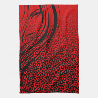 Silhouette Girl | Red Leopard Animal Print Kitchen Towel
