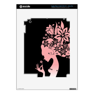 Silhouette Girl Smelling Pink Flower iPad 3 Decals