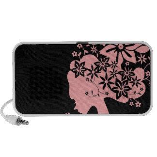 Silhouette Girl Smelling Pink Flower Mini Speaker
