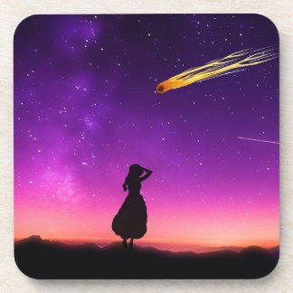 Silhouette Girl Watches Meteor Crash To Earth Beverage Coaster