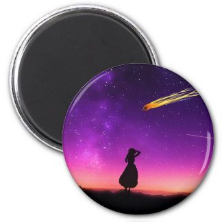 Silhouette Girl Watches Meteor Crash To Earth Magnet
