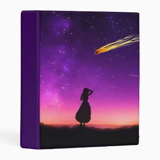 Silhouette Girl Watches Meteor Crash To Earth Mini Binder