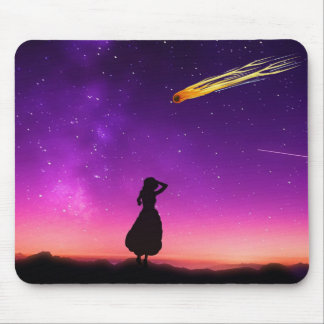 Silhouette Girl Watches Meteor Crash To Earth Mouse Pad