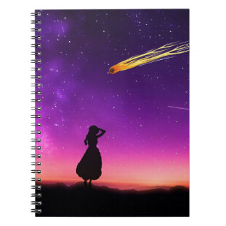 Silhouette Girl Watches Meteor Crash To Earth Notebook