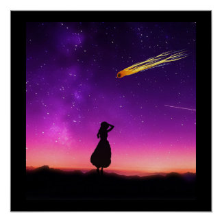 Silhouette Girl Watches Meteor Crash To Earth Poster