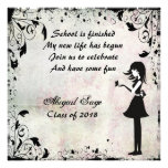 Silhouette Girl with Butterfly Graduation Invite